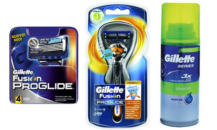 2 מארז גילוח ג'ילט Gillette כולל ידית, 6 סכינים וג'ל גילוח
