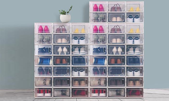 2 סט 6 קופסאות לאחסון נעליים