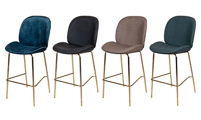 2 כיסא בר מרופד SUN DESIGN HOME