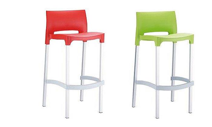 2 זוג כסאות בר מפלסטיקSUN DESIGN HOME דגם 035B