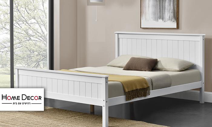 2 מיטה זוגית מעץ מלאHOME DECOR דגם דביר עם אופציה להוספת מזרן