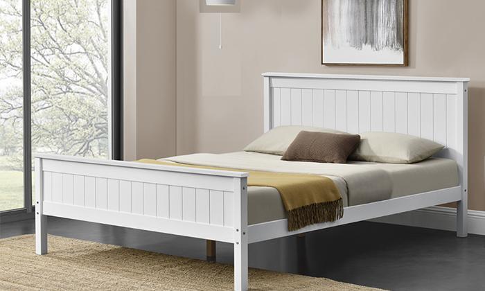 5 מיטה זוגית מעץ מלאHOME DECOR דגם דביר עם אופציה להוספת מזרן