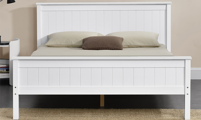4 מיטה זוגית מעץ מלאHOME DECOR דגם דביר עם אופציה להוספת מזרן