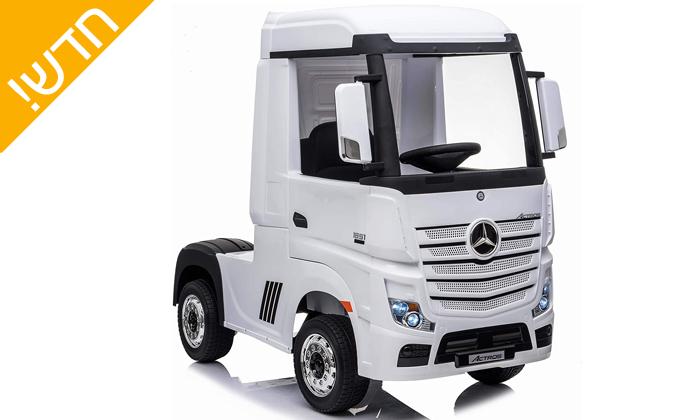 """4 רכב מרצדס ממונע לילדים עם מושבי עור, מגיע למהירות 5 קמ""""ש"""