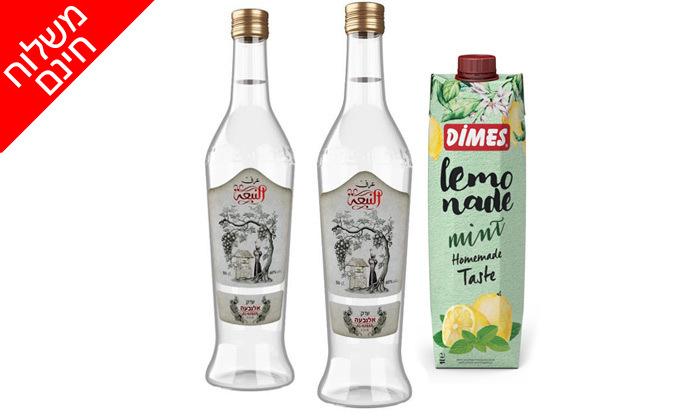 4 שני בקבוקי ערק כשר וקרטונית לימונענע במשלוח חינם מרשת שר המשקאות
