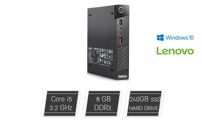 2 מחשב נייחלנובו Lenovo דגם M93P עם זיכרון 8GB ומעבד i5