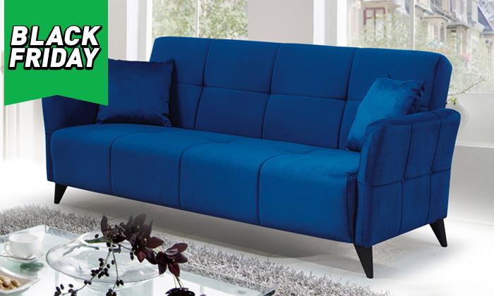 2 ספה תלת מושבית הנפתחת למיטה Or Design דגם קאני, כולל זוג כריות נוי