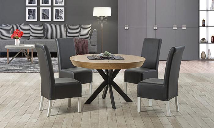 2 שולחן אוכל עגול נפתח LEONARDO, דגם גורמה מידות לבחירה