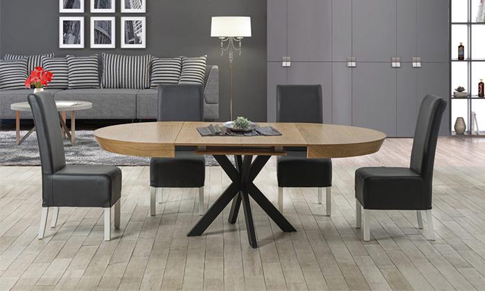 4 שולחן אוכל עגול נפתח LEONARDO, דגם גורמה מידות לבחירה