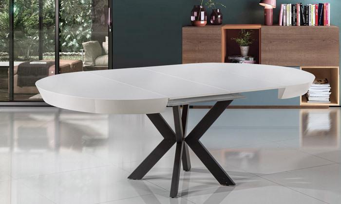 5 שולחן אוכל עגול נפתח LEONARDO, דגם גורמה מידות לבחירה