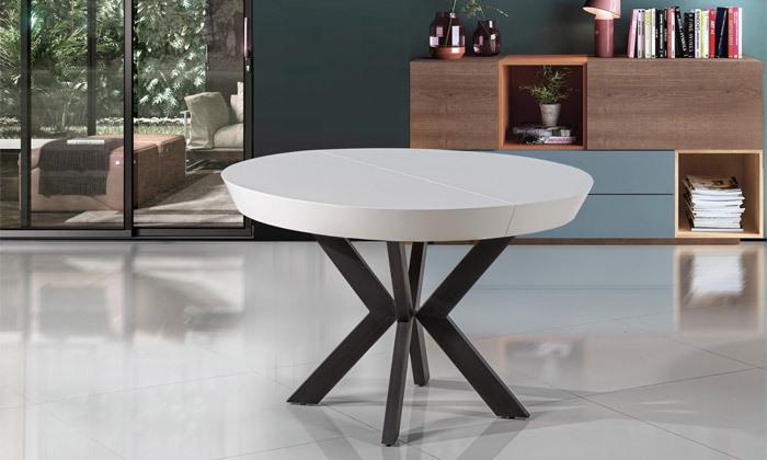 6 שולחן אוכל עגול נפתח LEONARDO, דגם גורמה מידות לבחירה
