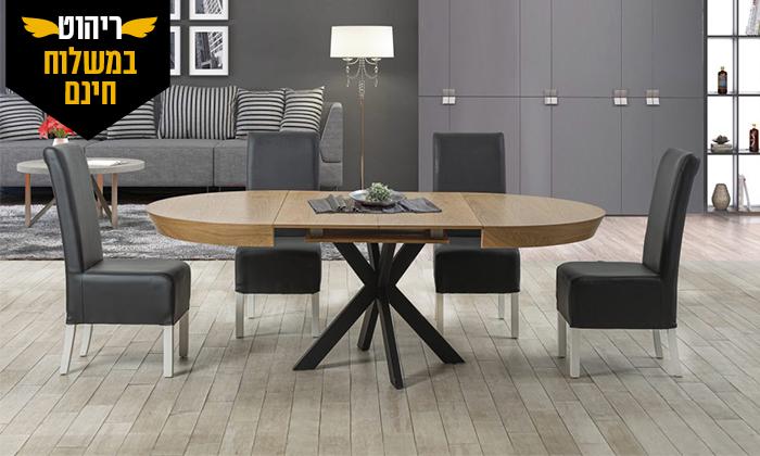 4 שולחן אוכל עגול נפתח לאונרדו, דגם גורמה מידות לבחירה - משלוח חינם