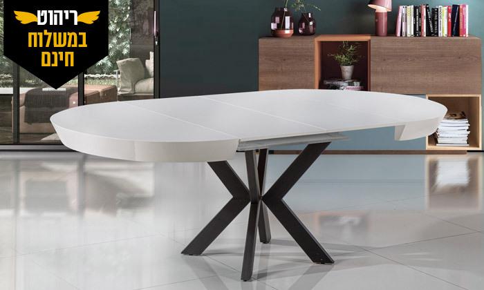 5 שולחן אוכל עגול נפתח לאונרדו, דגם גורמה מידות לבחירה - משלוח חינם