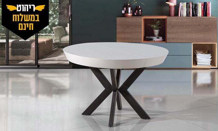 6 שולחן אוכל עגול נפתח לאונרדו, דגם גורמה מידות לבחירה - משלוח חינם