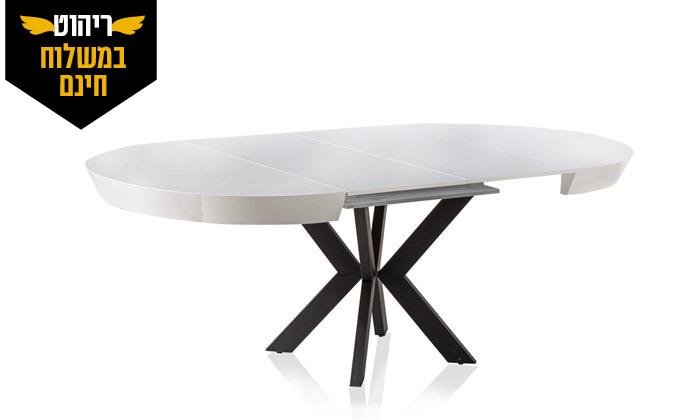 7 שולחן אוכל עגול נפתח לאונרדו, דגם גורמה מידות לבחירה - משלוח חינם