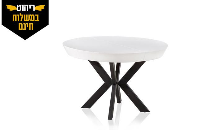 8 שולחן אוכל עגול נפתח לאונרדו, דגם גורמה מידות לבחירה - משלוח חינם