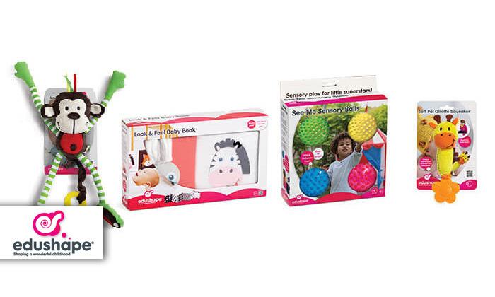 מארז לתינוק מגיל לידה Edushape: ספר לעגלה, בובות וכדורים