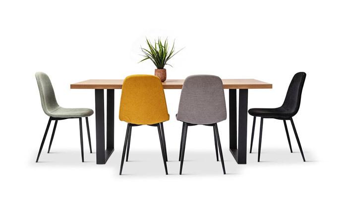 2 כיסא אוכל מרופד במבחר צבעים