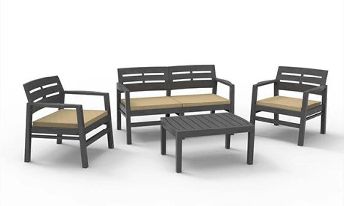 מערכת ישיבה לגינה דגם JAVA עם ספה, 2 כורסאות ושולחן קפה