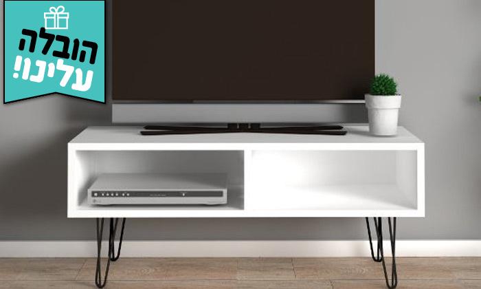 2 מזנון טלוויזיה לבן רבדים דגם אביב - משלוח חינם