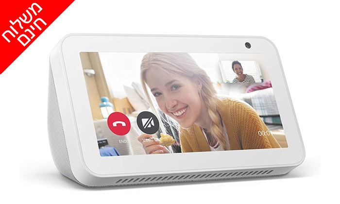 4 סט 2 רמקולים חכמים עם מסךבגודל 5.5 אינץ' Amazon, דגם Echo Show 5- משלוח חינם