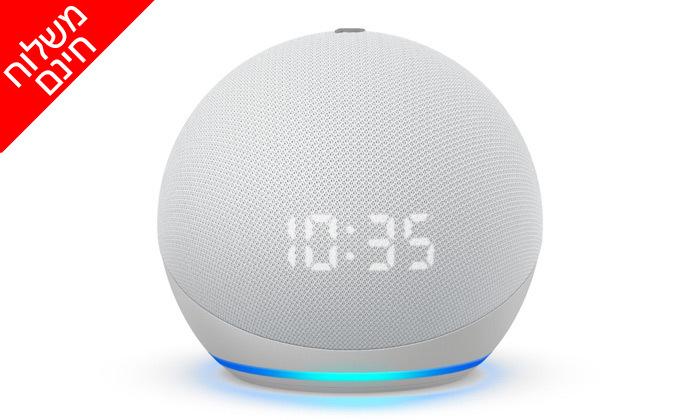 3 רמקול חכם (2020) Echo Dot 4nd Generation כולל שעון מואר ועוזרת קולית Alexa Amazon - משלוח חינם