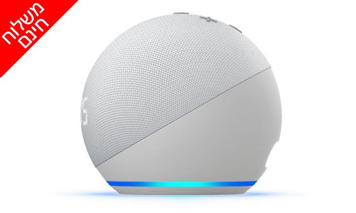 4 רמקול חכם (2020) Echo Dot 4nd Generation כולל שעון מואר ועוזרת קולית Alexa Amazon - משלוח חינם
