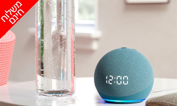 2 רמקול חכם (2020) Echo Dot 4nd Generation כולל שעון מואר ועוזרת קולית Alexa Amazon - משלוח חינם