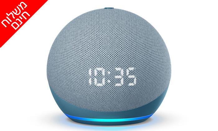 6 רמקול חכם (2020) Echo Dot 4nd Generation כולל שעון מואר ועוזרת קולית Alexa Amazon - משלוח חינם