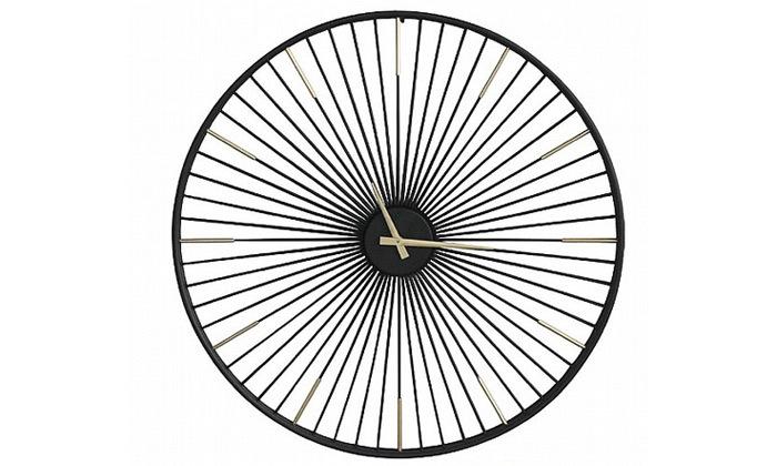שעון קיר חישורים - שחור בשילוב זהב Tudo Design