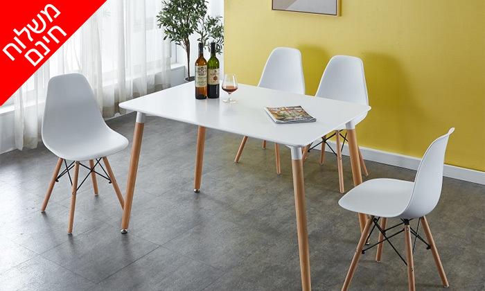 """2 פינת אוכל מעץ הכוללת שולחן באורך 140 ס""""מ ו-4 כסאות GAROX - משלוח חינם"""