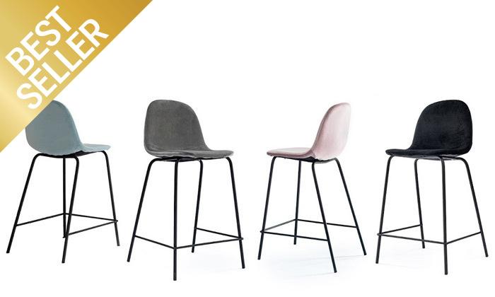 2 כיסא בר מרופד במבחר צבעים