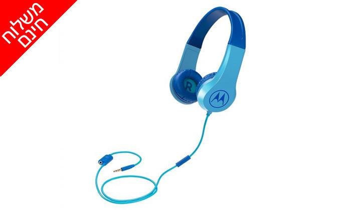 5 אוזניות חוטיות לילדים עם מפצל שמע MOTOROLA  - משלוח חינם