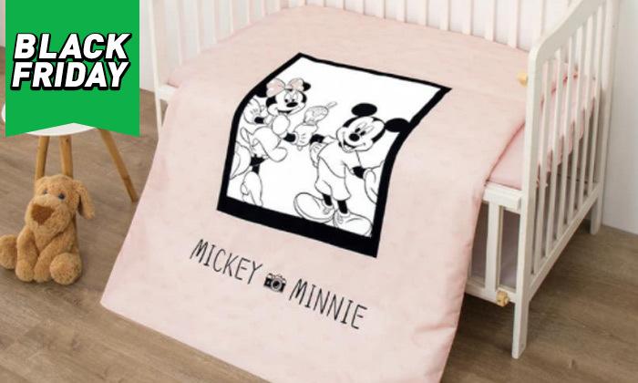 9 סט מצעים למיטת תינוק בדגמי מיקי ומיני מאוס