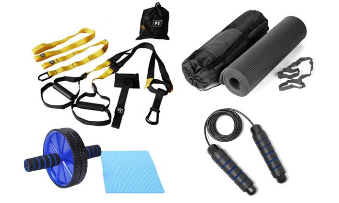 ערכת כושר הכוללת רצועות כוח, מזרן יוגה, גלגל אימון כפול וחבל קפיצה