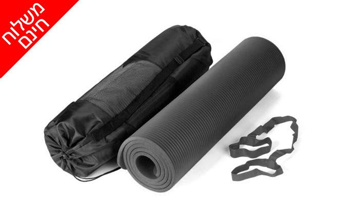 3 ערכת כושר הכוללת רצועות כוח, מזרן יוגה, גלגל אימון כפול וחבל קפיצה - משלוח חינם