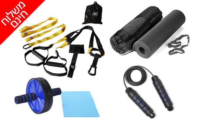 2 ערכת כושר הכוללת רצועות כוח, מזרן יוגה, גלגל אימון כפול וחבל קפיצה - משלוח חינם