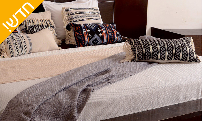 18 כיסוי מיטה 100% כותנה ASHRAM המשמש גם כשמיכה במגוון גדלים, דגמים וצבעים לבחירה