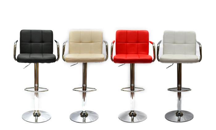2 זוג כיסאות בר בריפוד דמוי עור עם משענות ידיים ROSSO ITALY