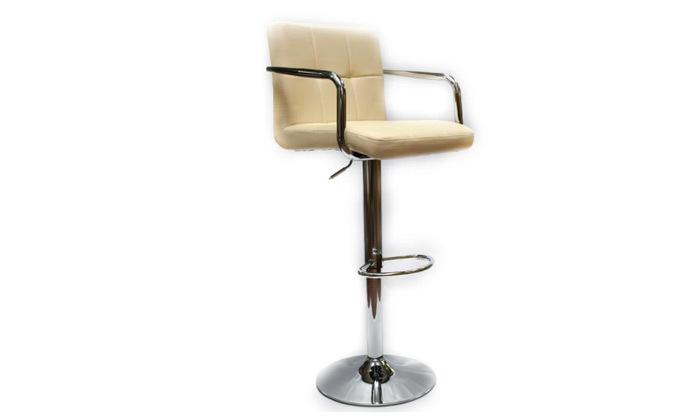 4 זוג כיסאות בר בריפוד דמוי עור עם משענות ידיים ROSSO ITALY