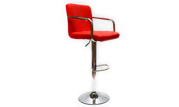 5 זוג כיסאות בר בריפוד דמוי עור עם משענות ידיים ROSSO ITALY