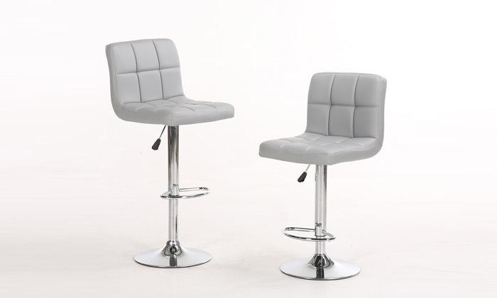 8 זוג כיסאות בר בריפוד דמוי עור