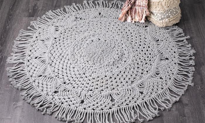 3 שטיח מקרמה עגול בעבודת יד, 100% כותנה