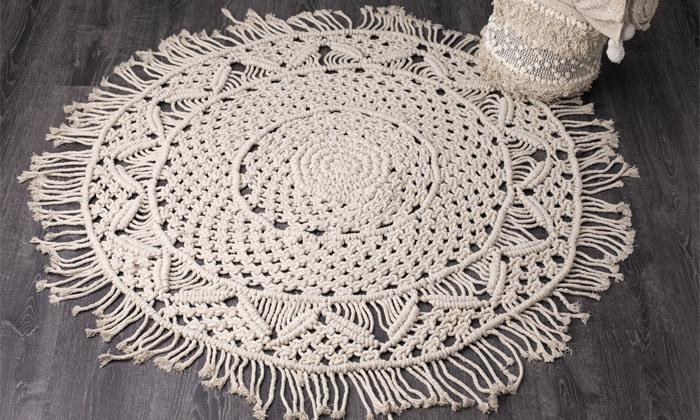 5 שטיח מקרמה עגול בעבודת יד, 100% כותנה