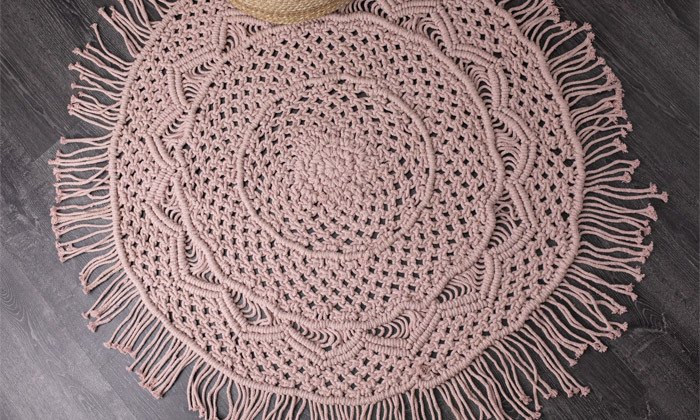 4 שטיח מקרמה עגול בעבודת יד, 100% כותנה