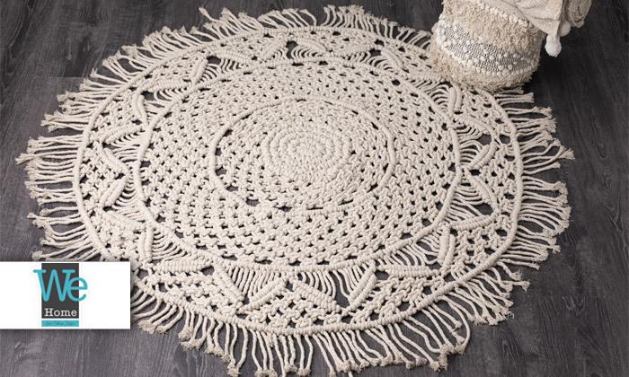 2 שטיח מקרמה עגול בעבודת יד, 100% כותנה