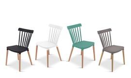כיסא אוכל מפלסטיק ועץ דגם פררה