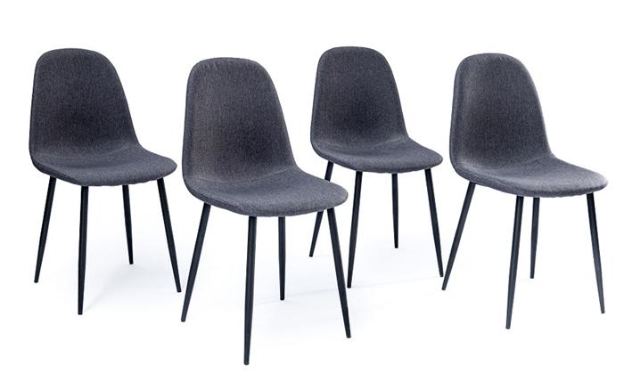 4 פינת אוכל לבנה עם 4 כיסאות בריפוד אפור