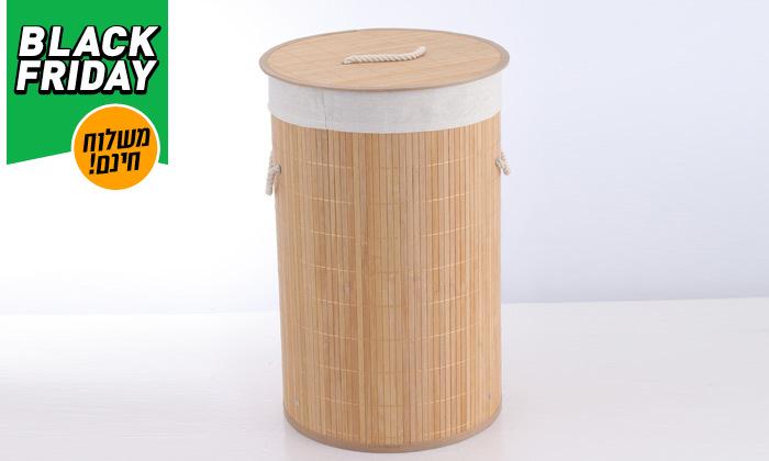 4 סל כביסה עגול מבמבוק - משלוח חינם