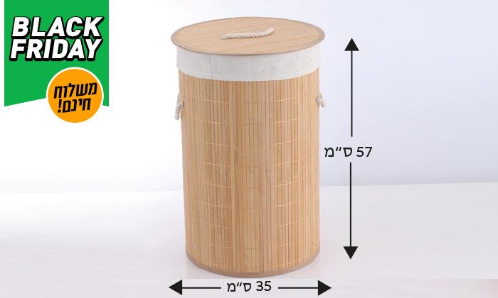 3 סל כביסה עגול מבמבוק - משלוח חינם